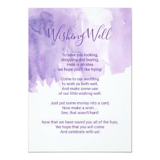 Violet Purple Watercolor Splash Wishing Well Card