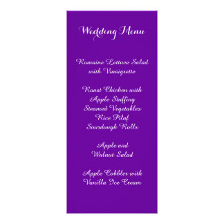 Violet Purple Wedding Menu
