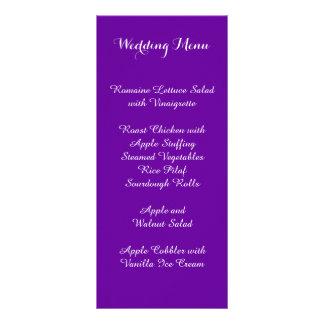 Violet Purple Wedding Menu Customized Rack Card
