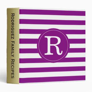 Violet Purple & White Stripes Custom Gold Monogram Binder