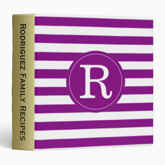 Violet Purple & White Stripes Custom Gold Monogram Vinyl Binders