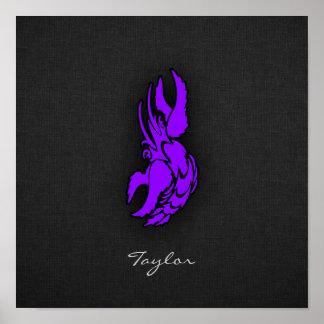 Violet Purple Zodiac Cancer Sign Poster