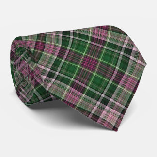 Violet red and green diagonal plaid tie