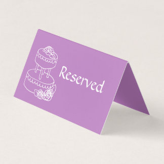Violet Reserved Wedding Folded Place Card