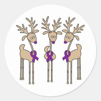 Violet Ribbon Reindeer (Hodgkin's Lymphoma) Classic Round Sticker