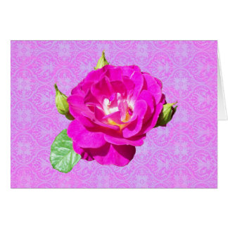 Violet Rose Damask Card