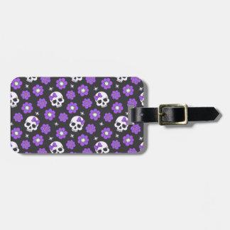 Violet Skulls and Flowers Luggage Tag