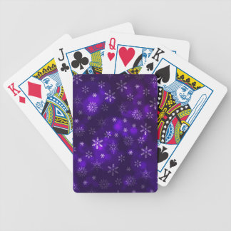 Violet Snowflakes Bicycle Playing Cards