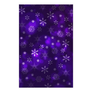 Violet Snowflakes Custom Stationery