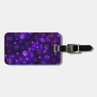 Violet Snowflakes Luggage Tag