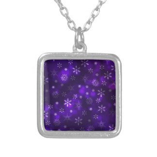 Violet Snowflakes Silver Plated Necklace