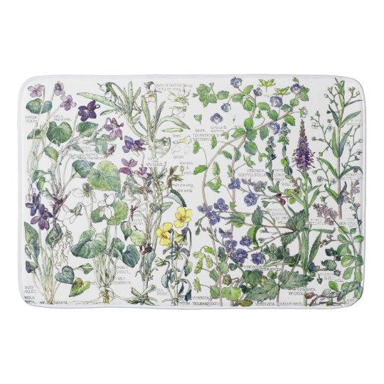 Violet Speedwell Flowers Floral Garden Bath Mat