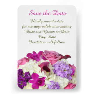 Violet Spring Bouquet Save the date Custom Invitation