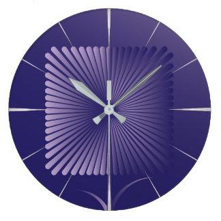 Violet square flower large clock
