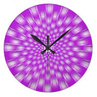 Violet starburst mandala wall clock