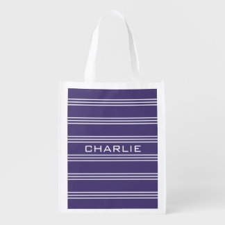 Violet Stripes custom monogram reusable bag Reusable Grocery Bags