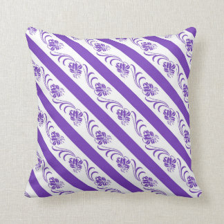 violet stripes floral pattern throw pillow