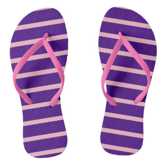 violet stripes with fractal ribbon flip flops