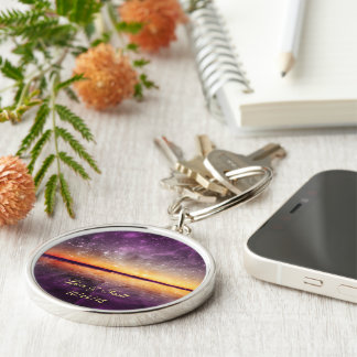 Violet Sunset and Stars Customizable Key Chain