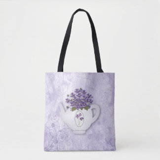 Violet Teapot All Over Print Tote Bag
