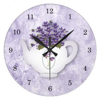 Violet Teapot Wall Clock