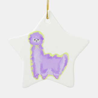 Violet the Alpaca Ceramic Star Ornament