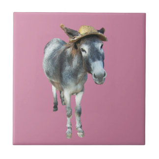 Violet the Donkey in Straw Hat with Flowers Ceramic Tile