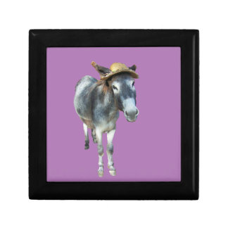 Violet the Donkey in Straw Hat with Flowers Gift Box