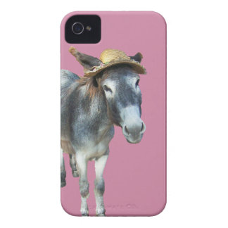 Violet the Donkey in Straw Hat with Flowers iPhone 4 Case
