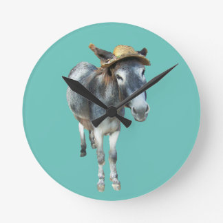 Violet the Donkey in Straw Hat with Flowers Wallclock