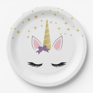 Violet the Unicorn Paper Plate