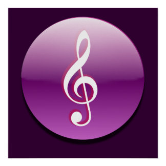 Violet Treble Clef Button Poster