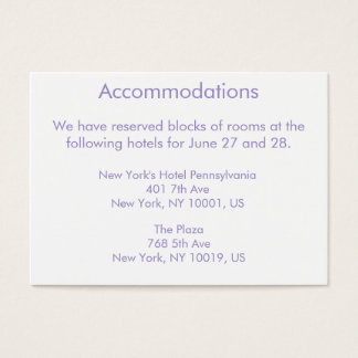 Violet Tulip Wedding Accommodations Business Cards