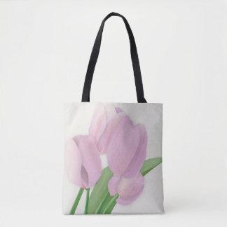 Violet Tulips Bouquet Tote Bag