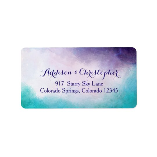 Violet & Turquoise Watercolor Personalized Label