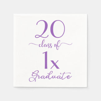 Violet Typography Class Of [YEAR] Graduate Paper Napkin