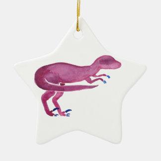 Violet Velociraptor Ceramic Ornament