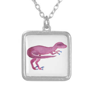 Violet Velociraptor Silver Plated Necklace