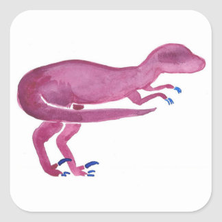 Violet Velociraptor Square Sticker