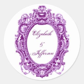Violet Vintage Frame Monogrammed Stickers