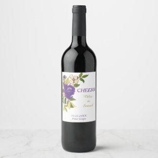 Violet Watercolor Bouquet Personalized Wedding Wine Label