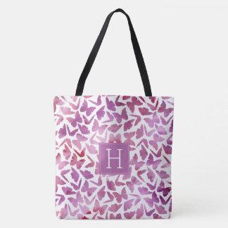 Violet Watercolor Butterflies Pattern Tote Bag