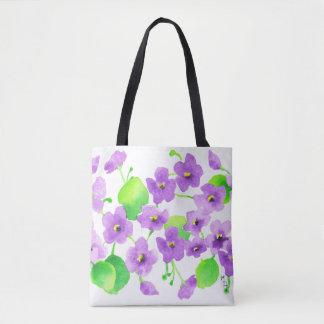 Violet watercolor Decorative Flower Pretty Classic Tote Bag