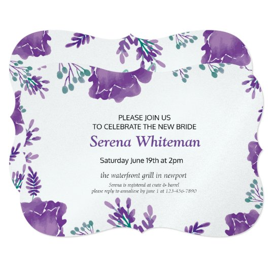 Violet watercolor floral bachelorette party card