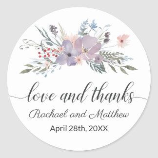 Violet Watercolor Floral Wedding Thank You Classic Round Sticker