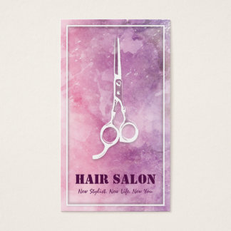 Violet Watercolor White Scissors Hair Beauty Salon Business Card