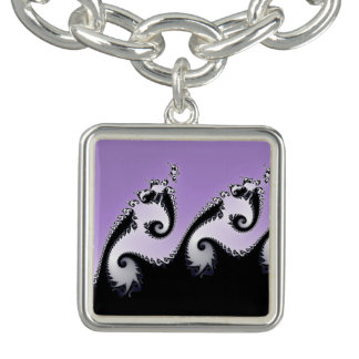 Violet, white and black fractal. bracelets