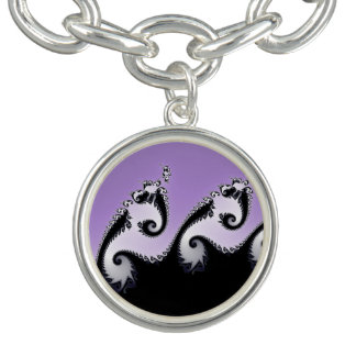 Violet, white and black fractal. charm bracelet