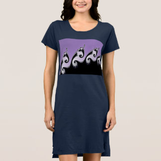 Violet, white and black fractal. dress