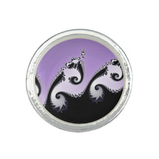 Violet, white and black fractal. ring